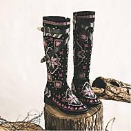 baratos Sapatos Femininos-Mulheres Sapatos Camurça Inverno Conforto Botas Salto de bloco Preto