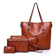 Női Táskák PU táska szettek 4 db erszényes készlet Cipzár Tömör szín Rubin / Szürke / Barna