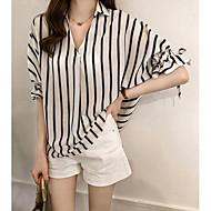 women's going out shirt - striped shirt collar