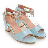 Women's PU(Polyurethane) Spring Comfort Sandals Chunky Heel White / Blue / Pink