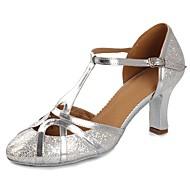 billige Kustomiserte dansesko-Dame Moderne sko Lakklær Sandaler / Høye hæler Paljett / Spenne Kubansk hæl Kan spesialtilpasses Dansesko Sølv