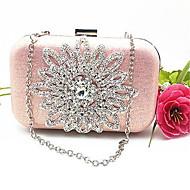 baratos Clutches & Bolsas de Noite-Mulheres Bolsas PU Bolsa de Festa Detalhes em Cristal Dourado / Rosa / Prateado