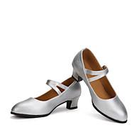 billige Moderne sko-Dame Moderne sko Lær Høye hæler Kubansk hæl Kan spesialtilpasses Dansesko Svart / Sølv / Rød