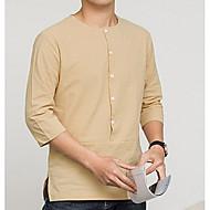 Herre - Ensfarvet Bomuld Plusstørrelser T-shirt / Kortærmet