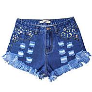 Dame Tynd Jeans / Shorts Bukser Leopard Lav Talje