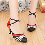 billige Moderne sko-Dame Moderne sko Silke Høye hæler Tykk hæl Dansesko Rød