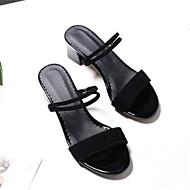Women's PU(Polyurethane) Summer Basic Pump Sandals Chunky Heel Open Toe Black / Orange / Yellow