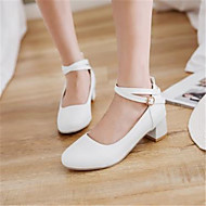 cheap Women's Boat Shoes-Women's PU(Polyurethane) Spring & Summer Mary Jane Boat Shoes Chunky Heel Round Toe White / Beige / Pink