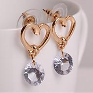 Χαμηλού Κόστους Κοσμήματα για την επιστροφή στο σπίτι-Γυναικεία Cubic Zirconia Πασιέντζα Κρεμαστά Σκουλαρίκια - Καρδιά Απλός, Γλυκός, Μοντέρνα Χρυσαφί Για Καθημερινά Causal
