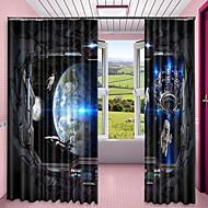 billige Gardiner ogdraperinger-3D gardiner Soverom Geometrisk Polyester Trykket
