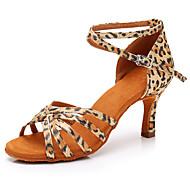 cheap Dance Shoes-Women  039 s Latin Shoes Satin Sandal   Heel Leopard b8757b2a5bc1