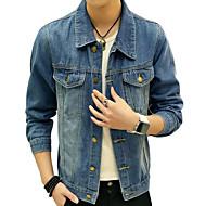 Homens Jaqueta jeans Vintage - Sólido, Algodão / Linho Franjas / Manga Longa