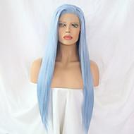 Perruque Lace Front Synthétique Droit Style Partie latérale Lace Frontale Perruque Bleu Bleu clair Cheveux Synthétiques 24 pouce Femme Ajustable / Résistant à la chaleur / Homme Bleu Perruque Long