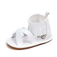 baratos Sapatos de Menina-Para Meninas Sapatos Couro Ecológico Verão Primeiros Passos Sandálias Mocassim para Bebê Branco / Preto / Rosa claro