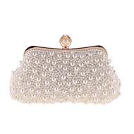 baratos Clutches & Bolsas de Noite-Mulheres Bolsas Poliéster Bolsa de Festa Botões / Detalhes em Pérolas Branco