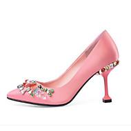 baratos Sapatos Femininos-Mulheres Sapatos Cetim / Seda Primavera Conforto Saltos Salto Agulha Preto / Rosa claro