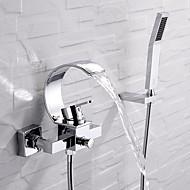 Torneira de Banheira - Moderna Cromado Instalação de Parede Válvula Cerâmica Bath Shower Mixer Taps / Monocomando Três Buracos