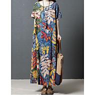 Dame Vintage / Sofistikerede T Shirt Kjole - Blomstret / Geometrisk / Regnbue, Trykt mønster Maxi