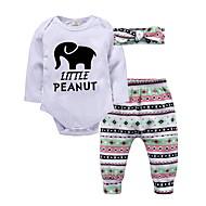 Baby Pige Basale Ensfarvet Langærmet Tøjsæt