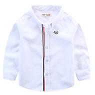 Baby Drenge Basale Farveblok Langærmet Polyester Skjorte Blå