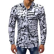 Camicia Per uomo Essenziale Con stampe, A pois / Monocolore Cotone Bianco XXXL / Manica lunga / Taglia piccola