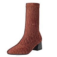 tanie Small Size Shoes-Damskie Obuwie Satyna Jesień & zima Modne obuwie Buciki Gruby obcas Plac Toe Kozaki do połowy łydki Black / Gray / Brown / Impreza / bankiet