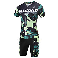 Malciklo Men's Short Sleeve Cycling Jersey with Shorts - Camouflage British / Camouflage Bike Clothing Suit, 3D Pad, Quick Dry, Breathable Coolmax®, Lycra / High Elasticity / SBS Zipper