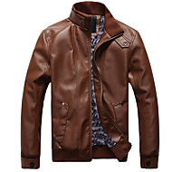 Men's Daily Basic Spring Regular Leather Jacket, Solid Colored Stand Long Sleeve PU Brown / Black XXL / XXXL / 4XL