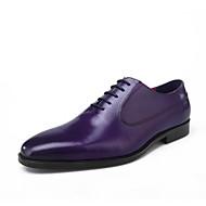 baratos Sapatos Masculinos-Homens Pele Primavera / Verão Conforto Oxfords Roxo / Café / Marron