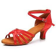 billige Kustomiserte dansesko-Dame Sko til latindans Sateng Sandaler / Høye hæler Spenne Kubansk hæl Kan spesialtilpasses Dansesko Rød