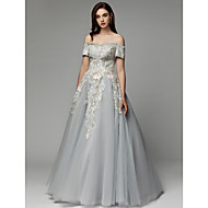 cheap -Ball Gown Off Shoulder Floor Length Satin / Tulle Prom / Formal Evening Dress with Embroidery by TS Couture®