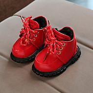 baratos Sapatos de Menina-Para Meninas Sapatos Couro Ecológico Outono & inverno Coturnos Botas Cadarço para Bebê Preto / Vermelho / Rosa claro