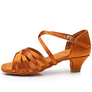 billige Kustomiserte dansesko-Jente Sko til latindans Sateng Sandaler / Høye hæler Spenne Kubansk hæl Kan spesialtilpasses Dansesko Mørkebrun