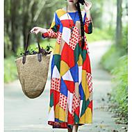 女性用 ルーズ スウィング ドレス - プリント, カラーブロック マキシ