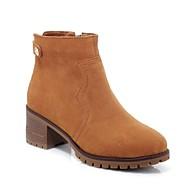baratos Sapatos Femininos-Mulheres Camurça Primavera Verão Conforto Botas Salto Robusto Cinzento / Rosa claro / Castanho Claro