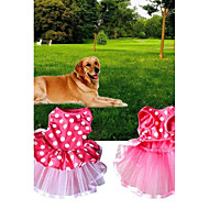 Dogs / Cats Dress Dog Clothes Polka Dot Pink Fabric Costume For Pets Female One Piece / Voiles & Sheers