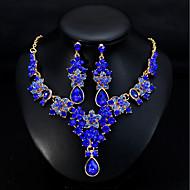 Dam Klassisk Smyckeset - Stilig, Europeisk, Elegant Omfatta Dropp Örhängen Halsband Grön / Blå / Mörkröd Till Bröllop Dagligen