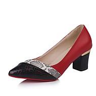 cheap -Women's Pumps PU(Polyurethane) Fall Heels Chunky Heel Pointed Toe Black / Red / Daily