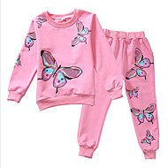 Kids Girls' Active / Street chic Sports Butterfly Print Print Long Sleeve Clothing Set