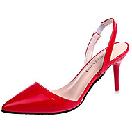 Pentru femei PU Primavara vara Balerini Basic Sandale Toc Stilat Vârf ascuțit Negru / Bej / Rosu
