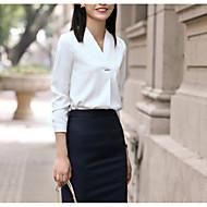 Dame - Ensfarvet Patchwork Basale Skjorte