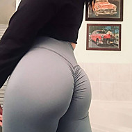 billiga -Dam Ruched Butt Lifting Yoga byxor - Rosa, Violet t, Aprikos sporter Ensfärgat Hög midja Cykling Tights / Leggings Fitness, Gym, Träna Sportkläder Push up-byxor, Butt Lift, Magkontroll Elastisk