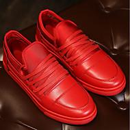 baratos Sapatos Masculinos-Homens Sapatos Confortáveis Couro Ecológico Primavera & Outono Casual Tênis Preto / Vermelho