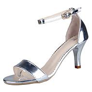 baratos Sapatos Femininos-Mulheres Couro Envernizado Primavera Verão Tira no Tornozelo Sandálias Salto Agulha Presilha Dourado / Prateado