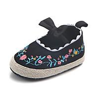 baratos Sapatos de Menina-Para Meninas Sapatos Algodão Verão Primeiros Passos Rasos Laço / Elástico para Branco / Preto / Rosa claro / Estampa Colorida