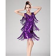 お買い得  ダンス用品-ラテンダンス ドレス 女性用 性能 スパンデックス タッセル / スパンコール ノースリーブ ドレス