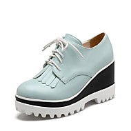 baratos Sapatos Femininos-Mulheres Sapatos Couro Ecológico Primavera Verão Conforto Oxfords Creepers Preto / Vermelho / Azul