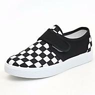 baratos Sapatos Femininos-Mulheres Sapatos Confortáveis Tricô / Lona Outono Casual Tênis Sem Salto Ponta Redonda Preto / Vermelho