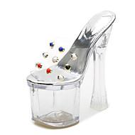 baratos Sapatos Femininos-Mulheres Sapatos PVC Verão Shoe transparente Sandálias Salto Alto de Cristal Peep Toe Tachas Claro / Festas & Noite