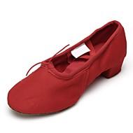 billige Ballettsko-Dame Ballettsko Lerret Flate Tvinning Flat hæl Kan spesialtilpasses Dansesko Rød